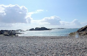 The pebble beach at St Columba