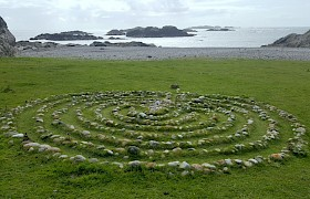 The pebble maze at St Columba