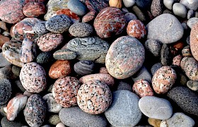 Beautiful patterned pebbles at St Columba